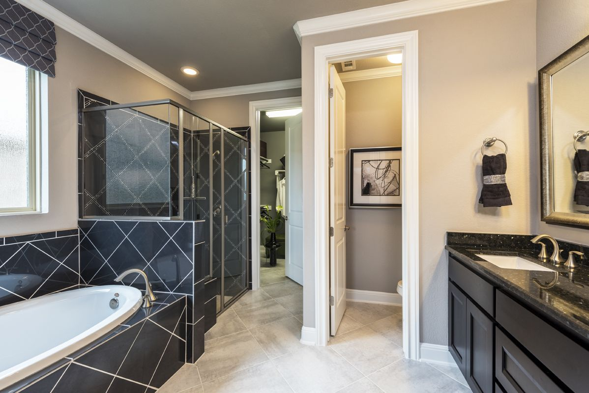A Luxurious Masterbathroom Design With Dark Tile And Cabinets
