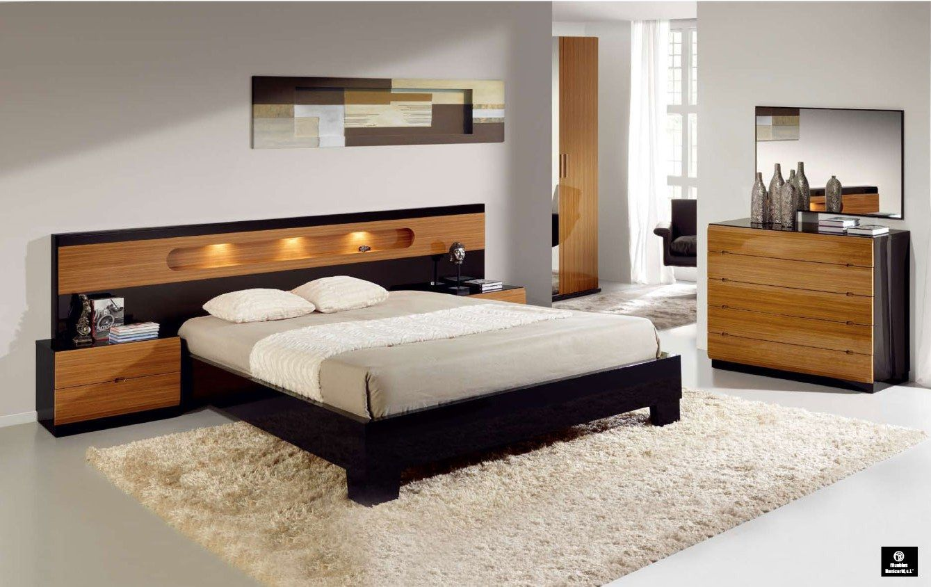 Made In Spain Wood Modern Design Bed Set With Extra Storage The