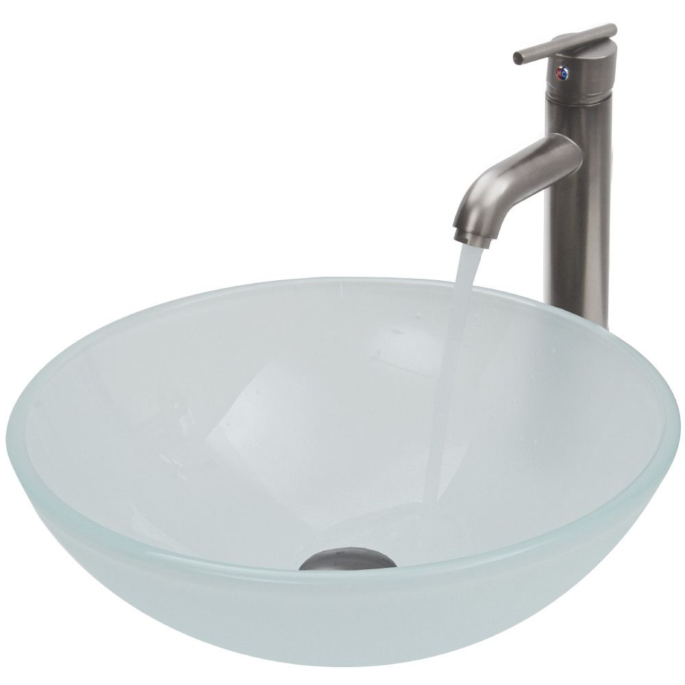Gray Tempered Glass Circular Vessel Bathroom Sink With Faucet Sink Faucet Glass Vessel Sinks
