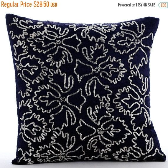 Velvet Navy Blue Pillow For Sofa 16x16 Luxury Etsy Throw Pillow Cover Navy Navy Blue Pillows Silver Pillows