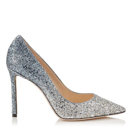 JIMMY CHOO ROMY 100 Silver and Dusk Blue Fireball Glitter