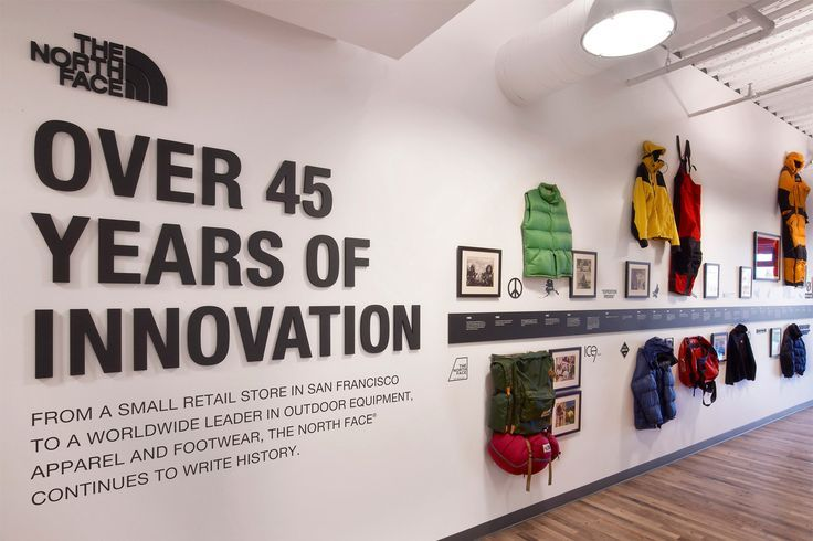 The north face company history wall display company for Office design history