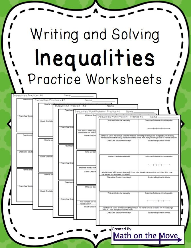 Inequalities  Notes And Practice Includes Word Problems  Word