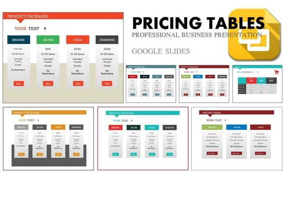 Pricing Tables Google Slides by Yes Presentations on Creative - google powerpoint template