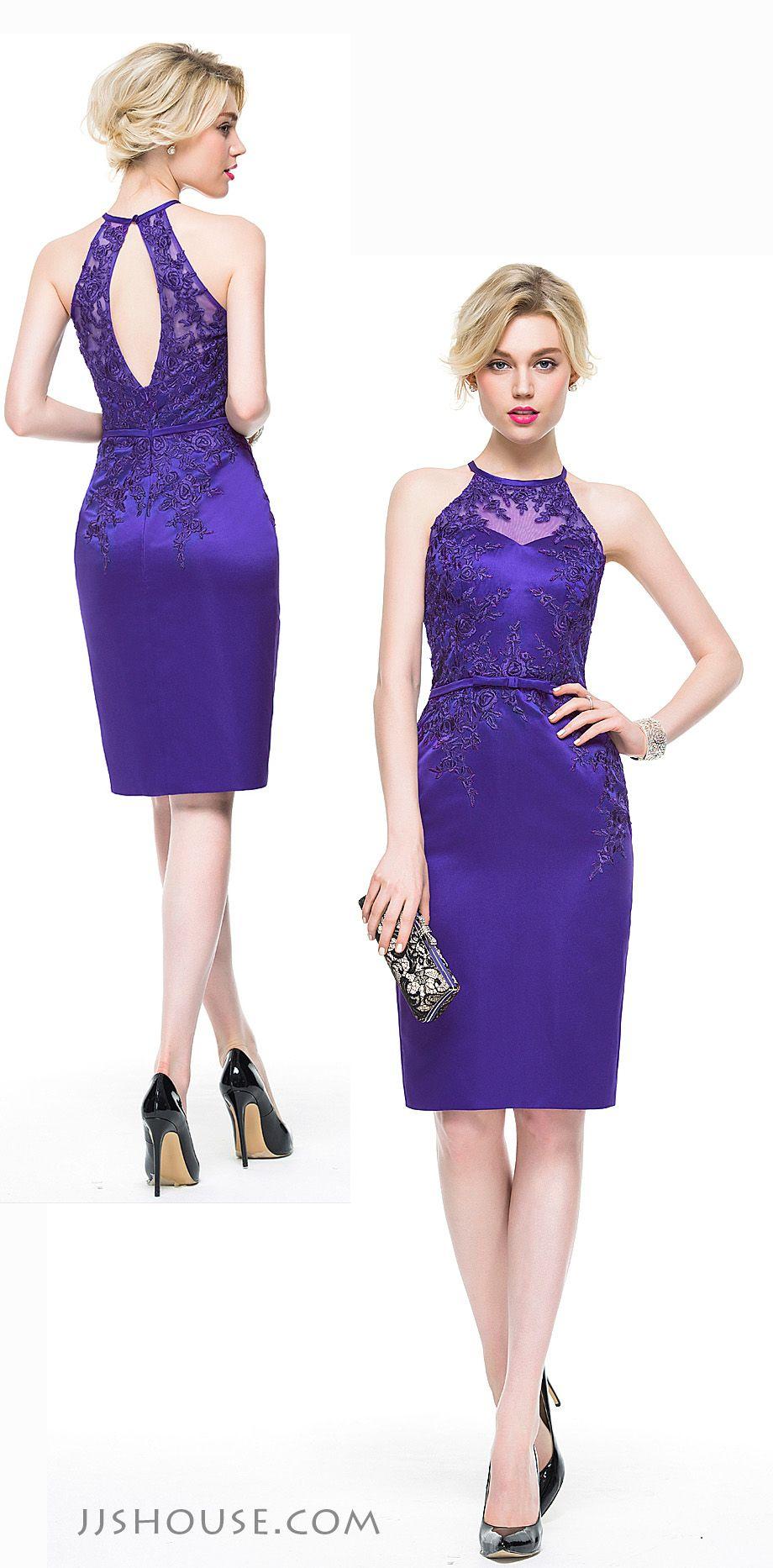 Sheath/Column Scoop Neck Knee-Length Satin Cocktail Dress With ...