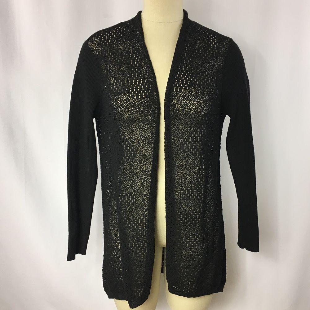 Eileen Fisher Black 100% Wool Knit Open Front Cardigan Sweater M ...
