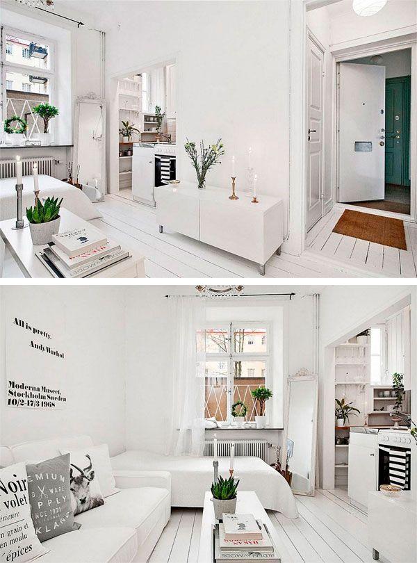 Piso de 20 metros cuadrados de decoraci n escandinava for Pisos para apartamentos pequenos