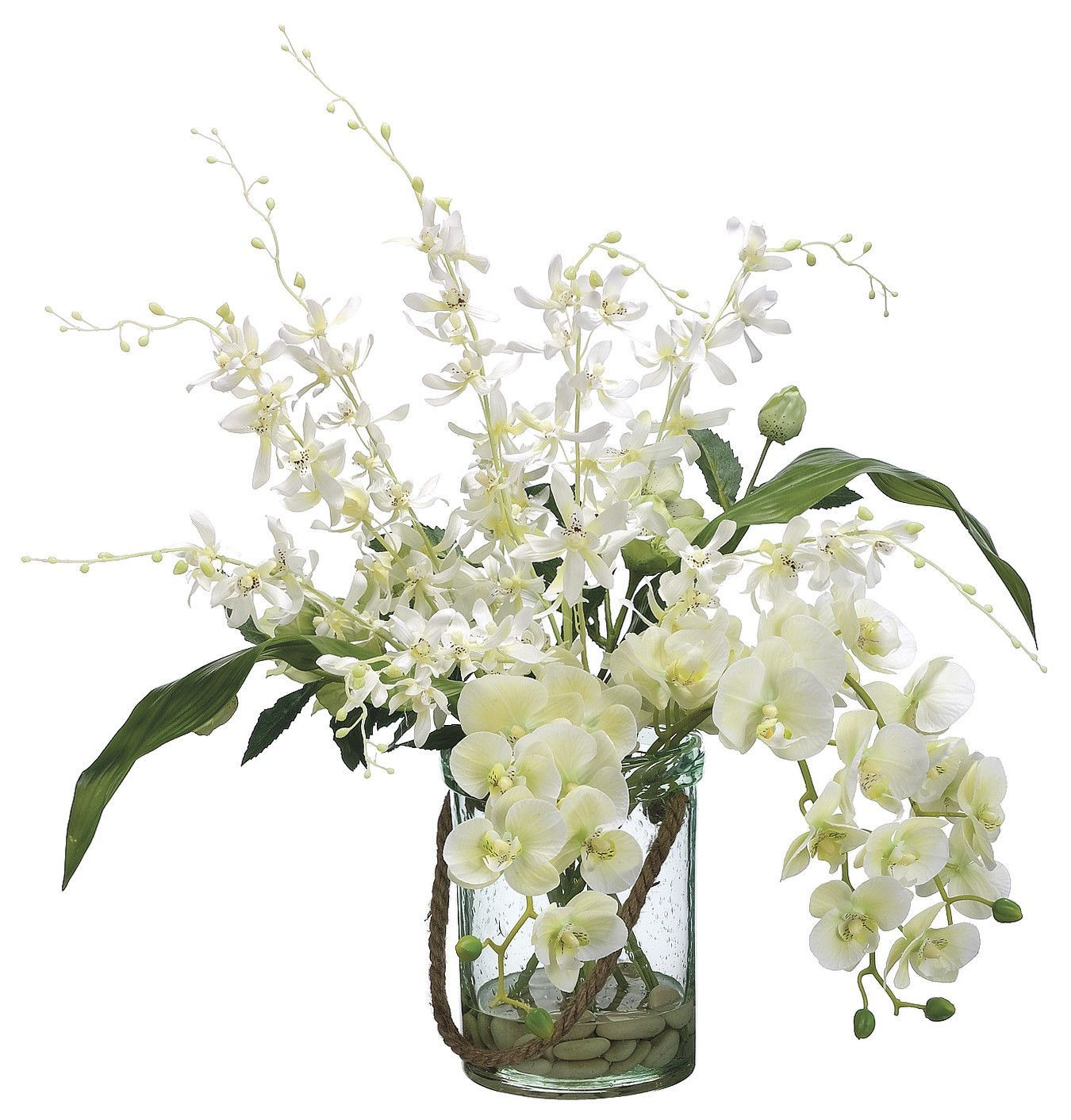 Cream colored phalaenopsis and dendrobium orchids in a decorative