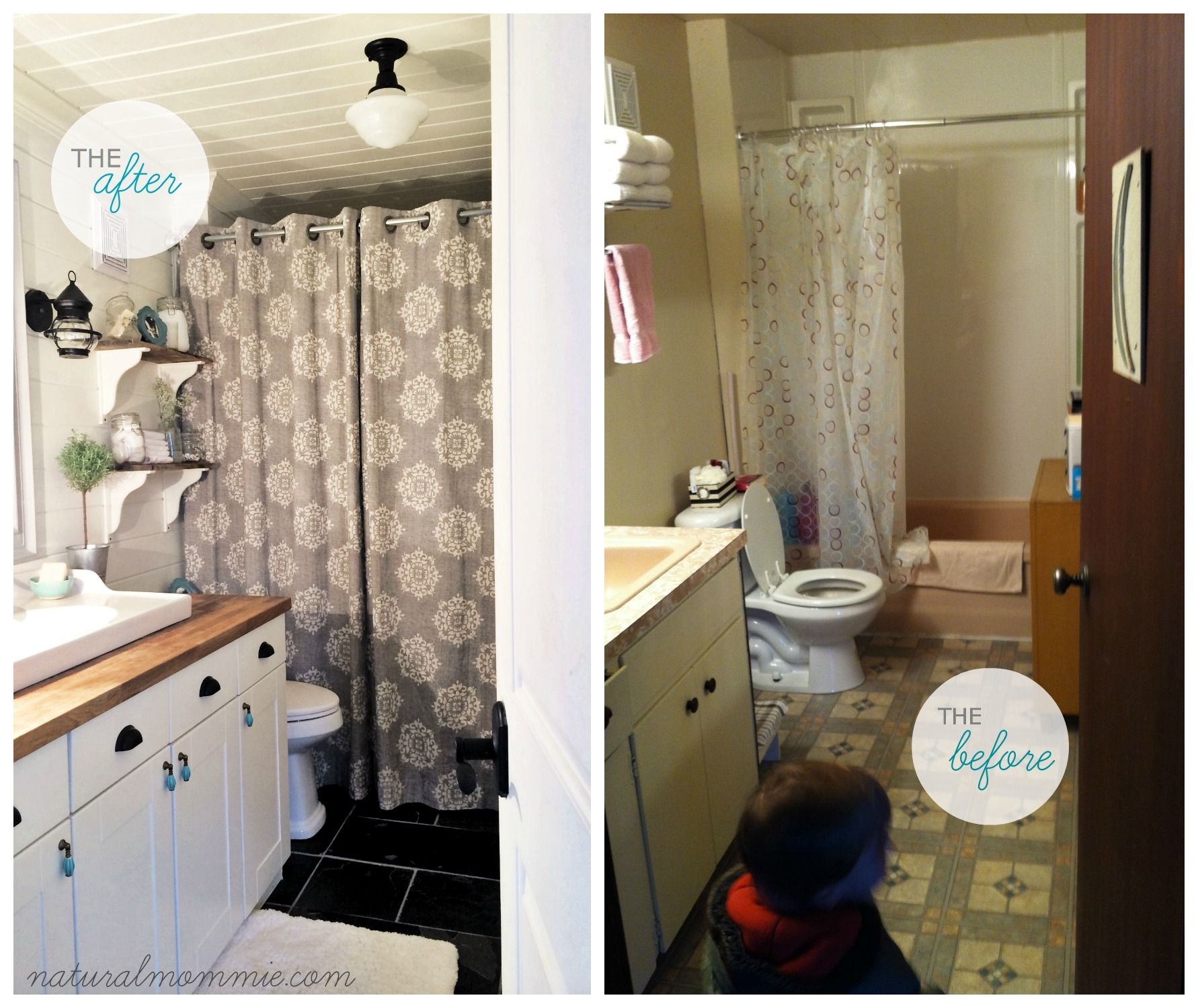 Farmhouse Bathroom Before And After Natural Mommie Farmhouse Bathroom Bathrooms Remodel Diy Bathroom Decor