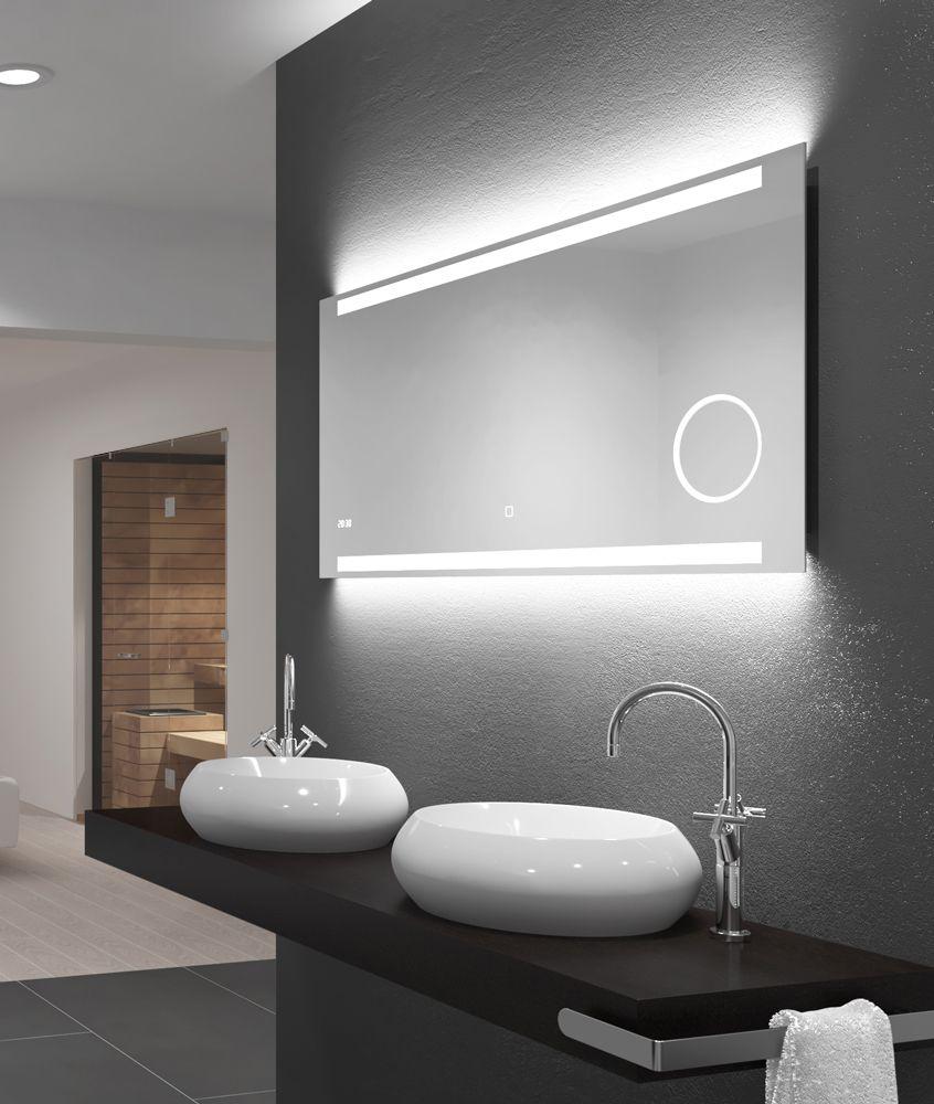 Einzigartig Und Souveran Mit Der Automatischen Digitaluhr Dem Beleuchteten Sensortastfel Badspiegel Beleuchtet Badezimmerspiegel Beleuchtet Badezimmerspiegel