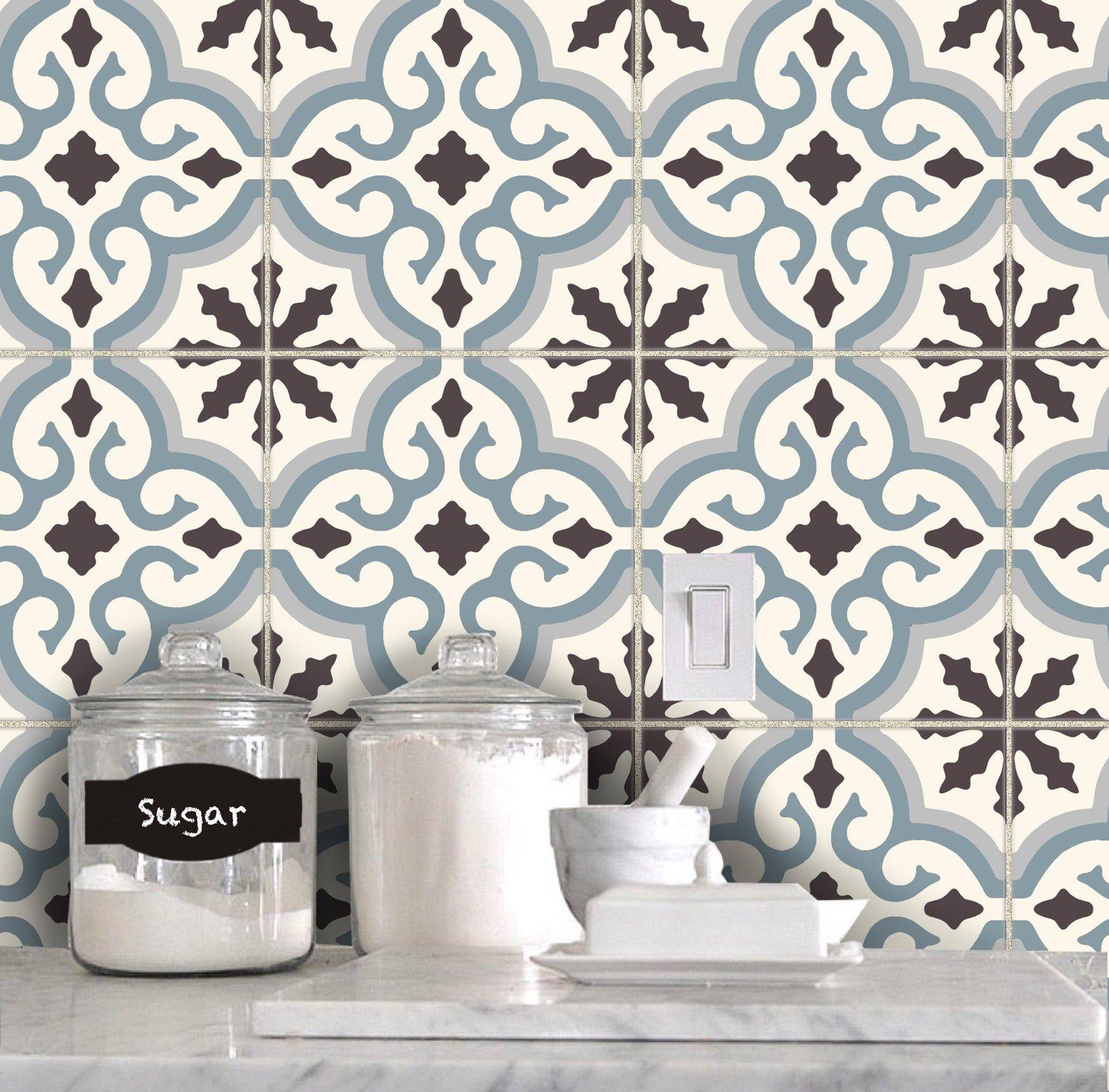 Tile Sticker Kitchen Bath Floor Wall Waterproof Removable Etsy In 2020 Tile Stickers Kitchen Wall Waterproofing Flooring