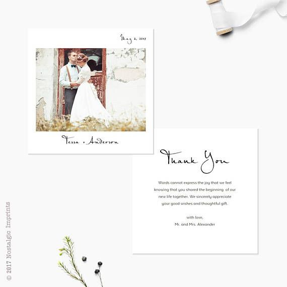 Photo Wedding Thank You Cards, 5.25 x 5.25, Personalised wedding thank you note, the Tessa #businessthankyoucards