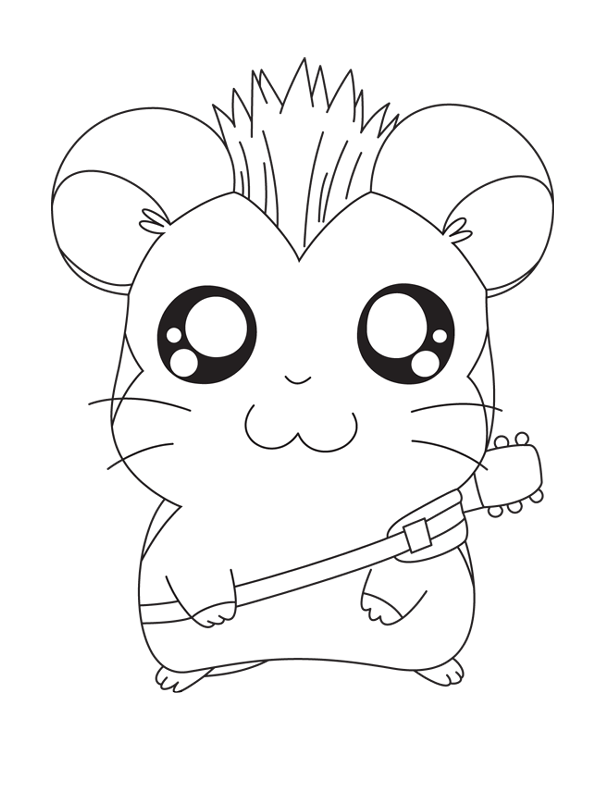 Hamtaro And Guitar Coloring Pages Free