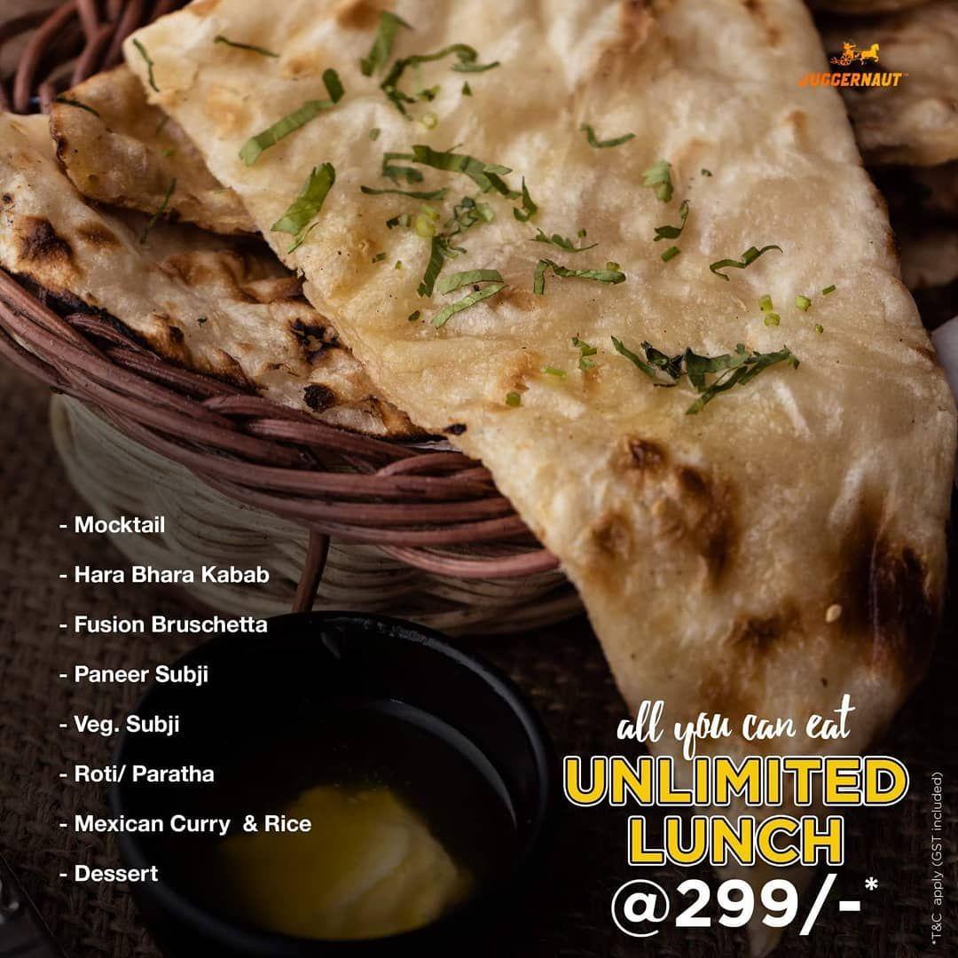 Unlimted Lunch @299/-(GST incl.) Offer valid only at Juggernaut Sindhubhavan. T&c apply. . Address: Near Sattva Vikas School, PRL Colony, Thaltej, Ahmedabad. . .
