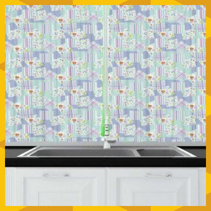 East Urban Home Abstract Illustration of Floral Pattern Quirky Pastel Scattered on Background Kitchen Curtain  Wayfairbr Abstract