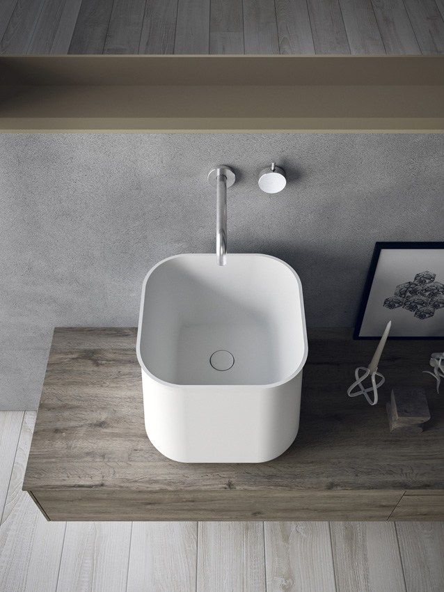 Mobile lavabo sospeso in HPL con cassetti CALIX - COMPOSIZIONE A06 ...