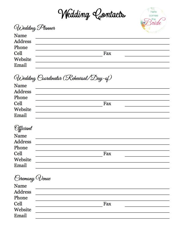 Wedding Planning Vendor Contact List Wedding Planning Checklist - wedding checklist template