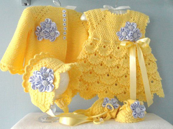 Photo of Crochet Baby Dress Crochet Baby Cardigan Bonnet Shoes Knitted Baby Girl Jacket Newborn Dress Baby Sweater Knitted Baby Dress Baby Girl Gift