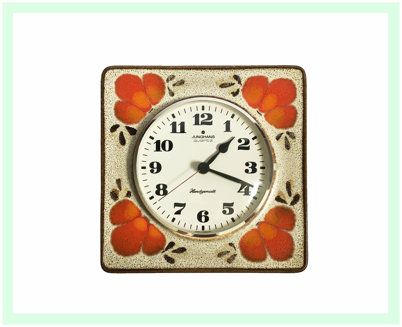 Küchenuhr Retro ~ Vintage junghans porzellan keramik wanduhr küchenuhr quarz