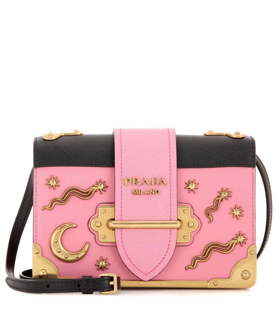 17f874628f6c PRADA Cahier Embellished Leather Shoulder Bag. #prada #bags #shoulder bags # leather #lining #