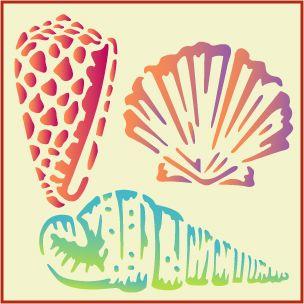 Seashell set  ablonyvoda  Pinterest  Stenciling Silhouettes