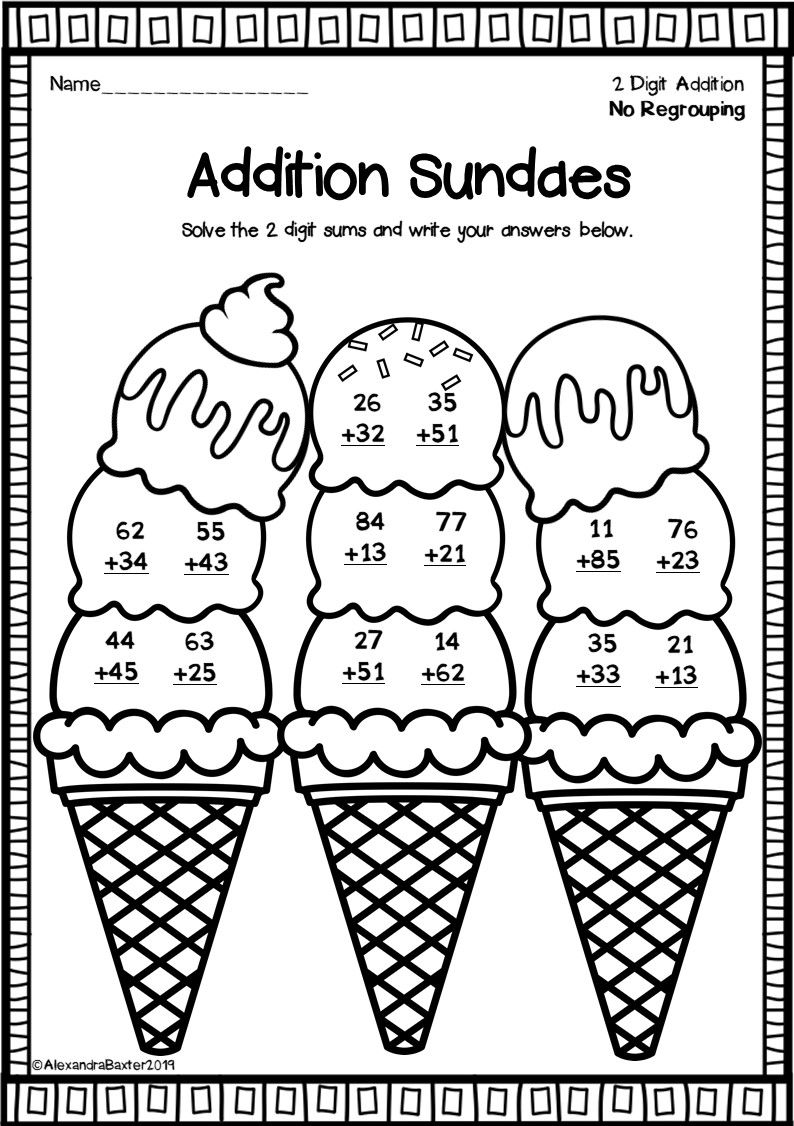 Two Digit Addition Worksheets (No Regrouping) Fun math