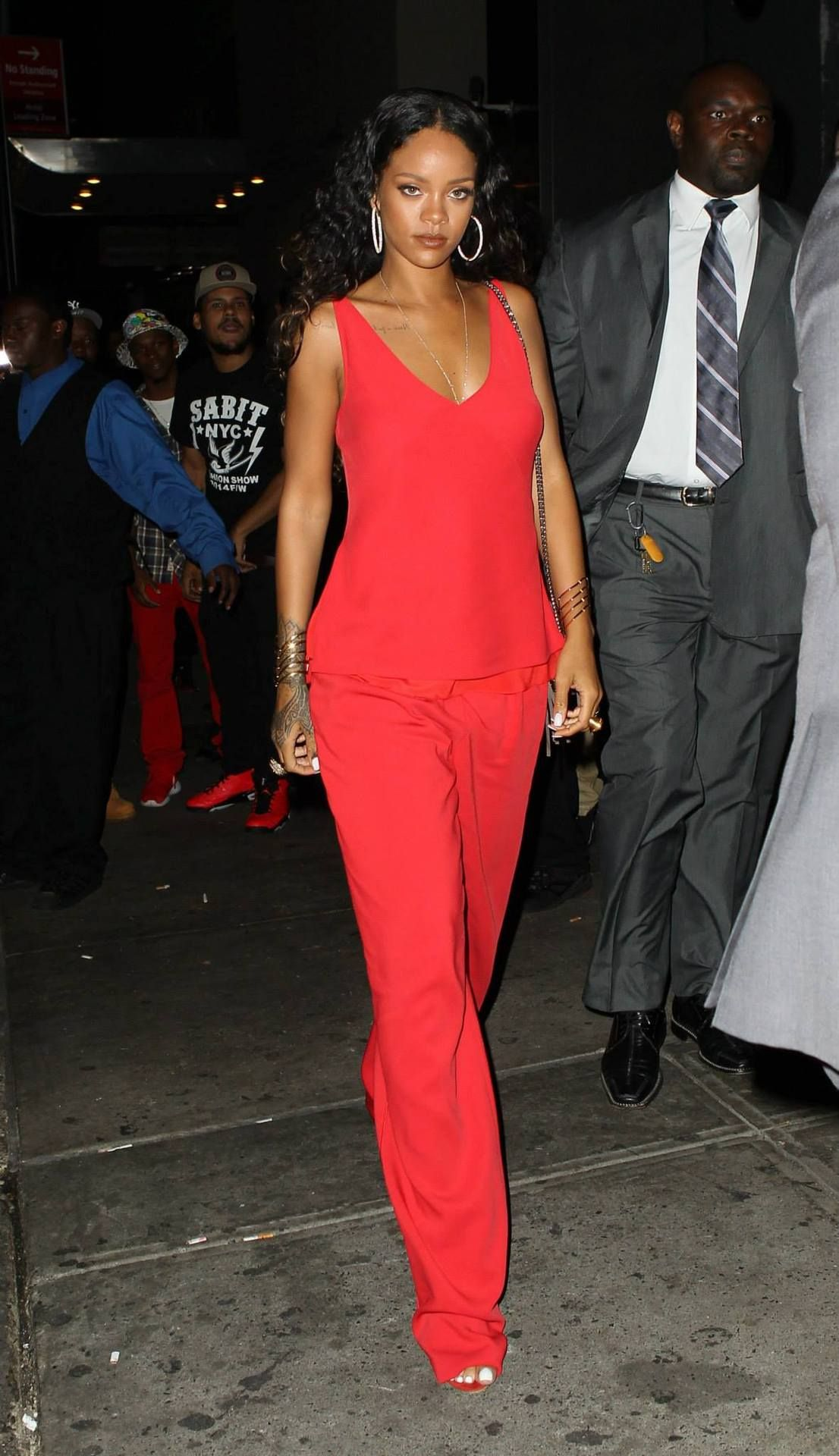 Rihanna arriving at a Party in New York