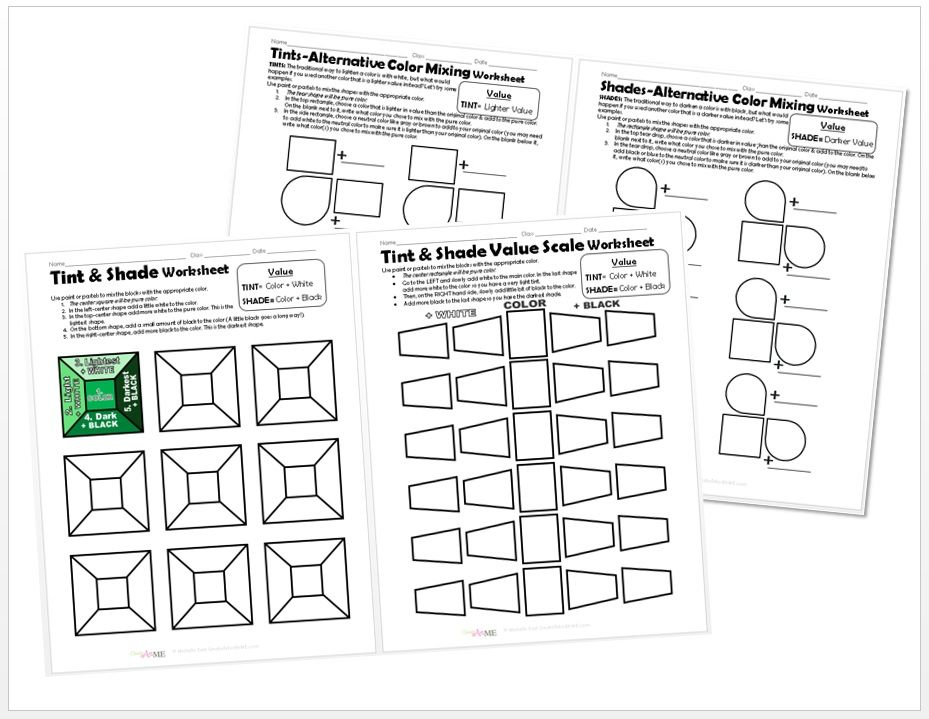 Color VALUE Tints and Shades 4 Worksheets PACKET Acrylic