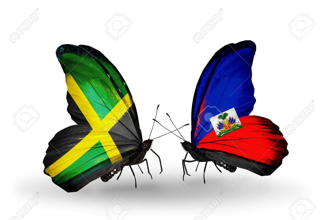 Two Butterflies With Flags On Wings As Symbol Of Relations