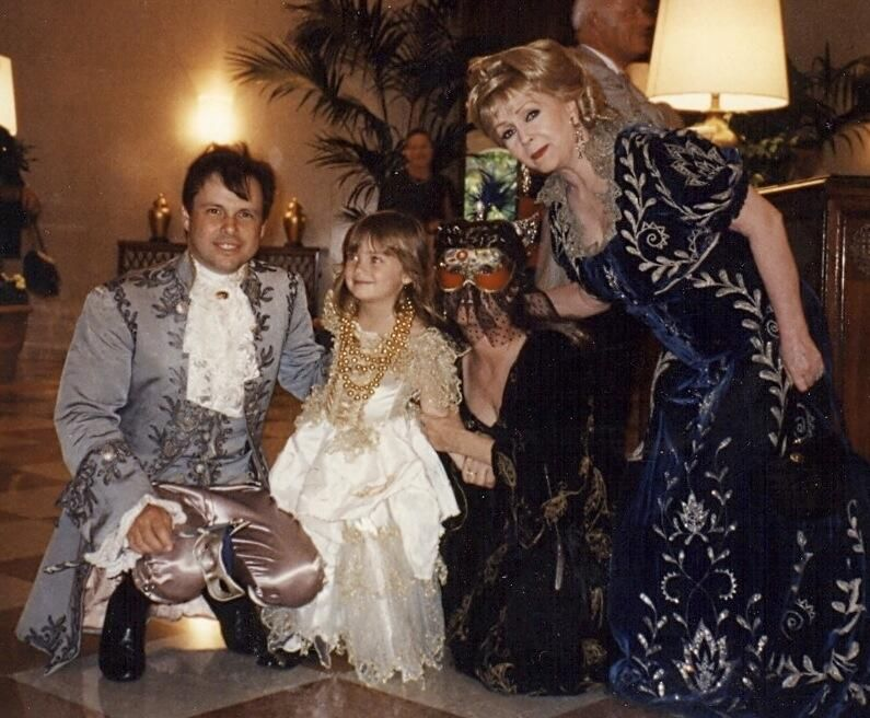 Carrie,Todd, Billie & Debbie wearing costumes from Romeo&Juliet at a party in Venice.