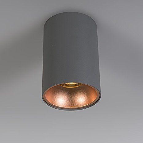 QAZQA Design / Modern / Deckenstrahler Deep 1 grau mit kupfer Metall ...