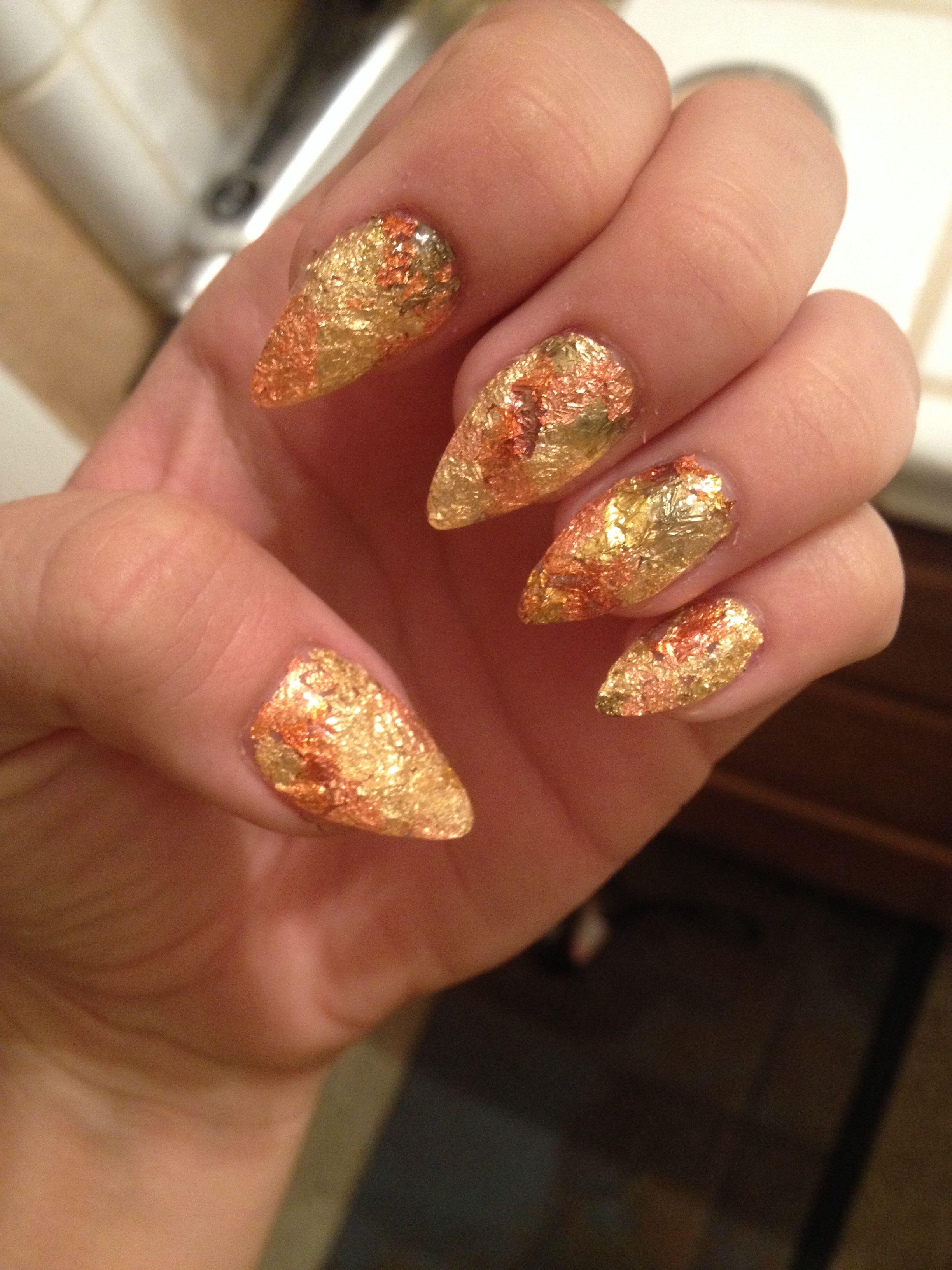 Fall Stiletto Nails Gold Orange Copper Fall Colors Gel Nails Stiletto Nails Designs Stiletto Nails Gold Nails