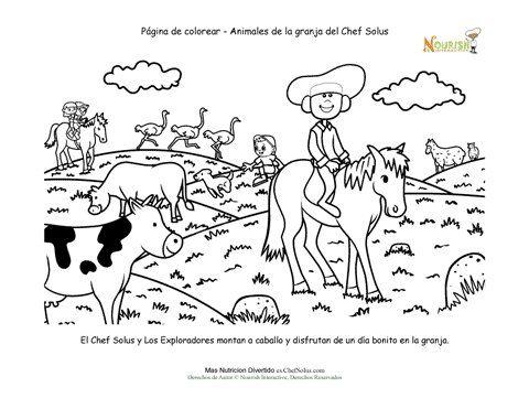 Página para colorear para los niños de animales de granja. Escena ...