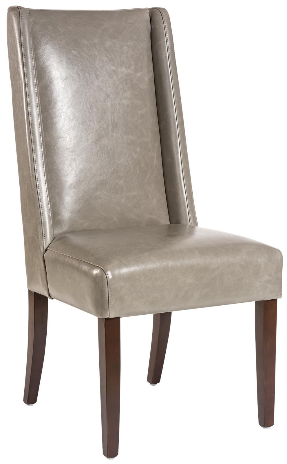 Leather Dining Chair Gray London Fog Leather Wood Walnut Modern