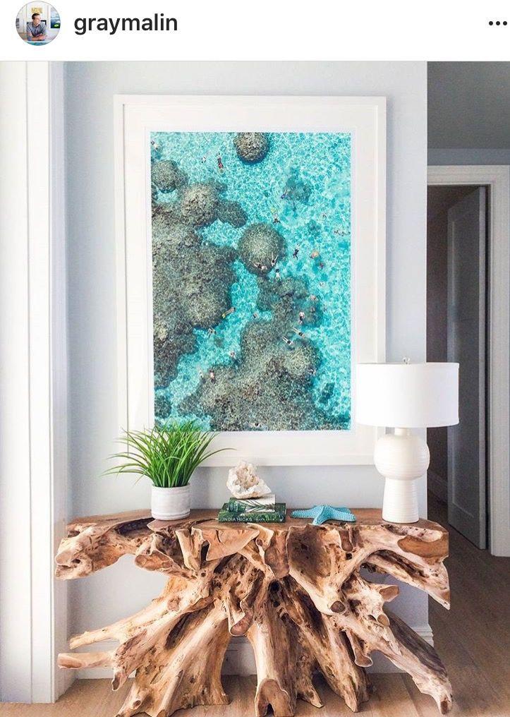 Pin By Shelena Mondi On Diakosmhtika Spitioy Decor Beach House Interior Teak Root Console