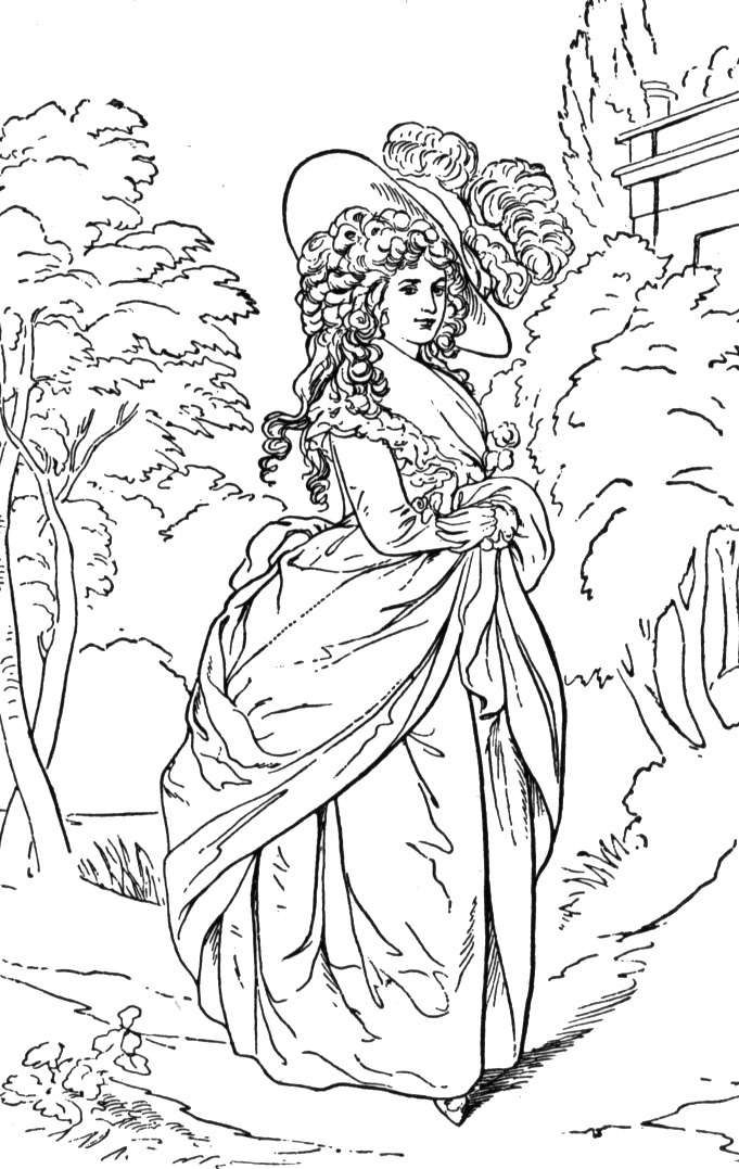 Rococo 18th Century Lady Painting Coloring Page Coloring