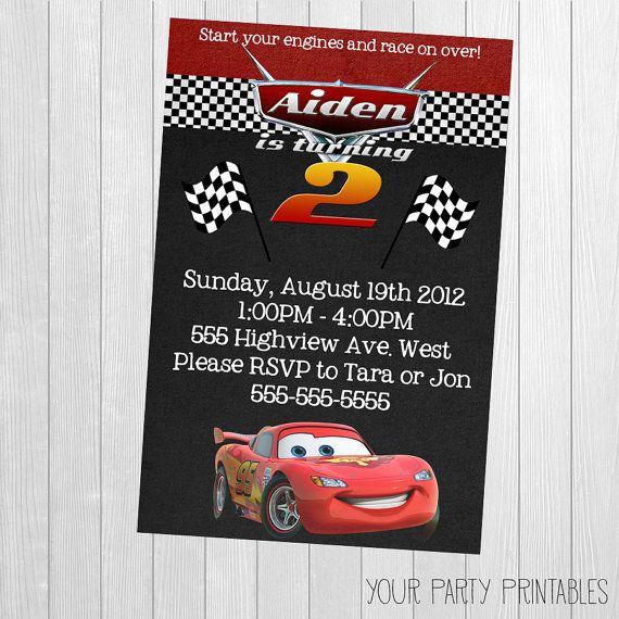 Invitación Cars Rayo McQueen invitación por YourPartyPrintables cars Cars birthday