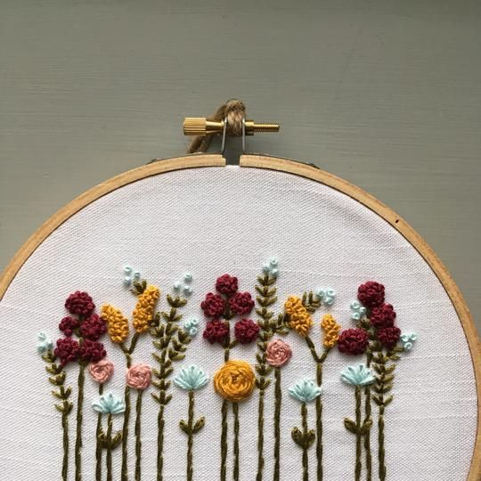 Beginner Hand Embroidery Kit - Autumn Wildflowers #embroiderypatternsbeginner