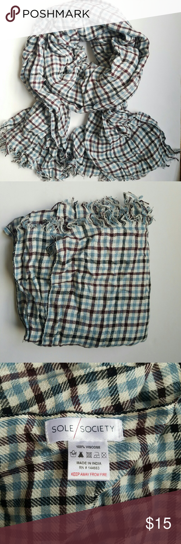 Sole Society for Nordstrom XL Gingham Scarf Scarf was worn twice last fall. Has a few unnoticeable snags, but easily smooth out. Extra long rectangular shape. 100% viscose, extremely soft Nordstrom Accessories Scarves & Wraps