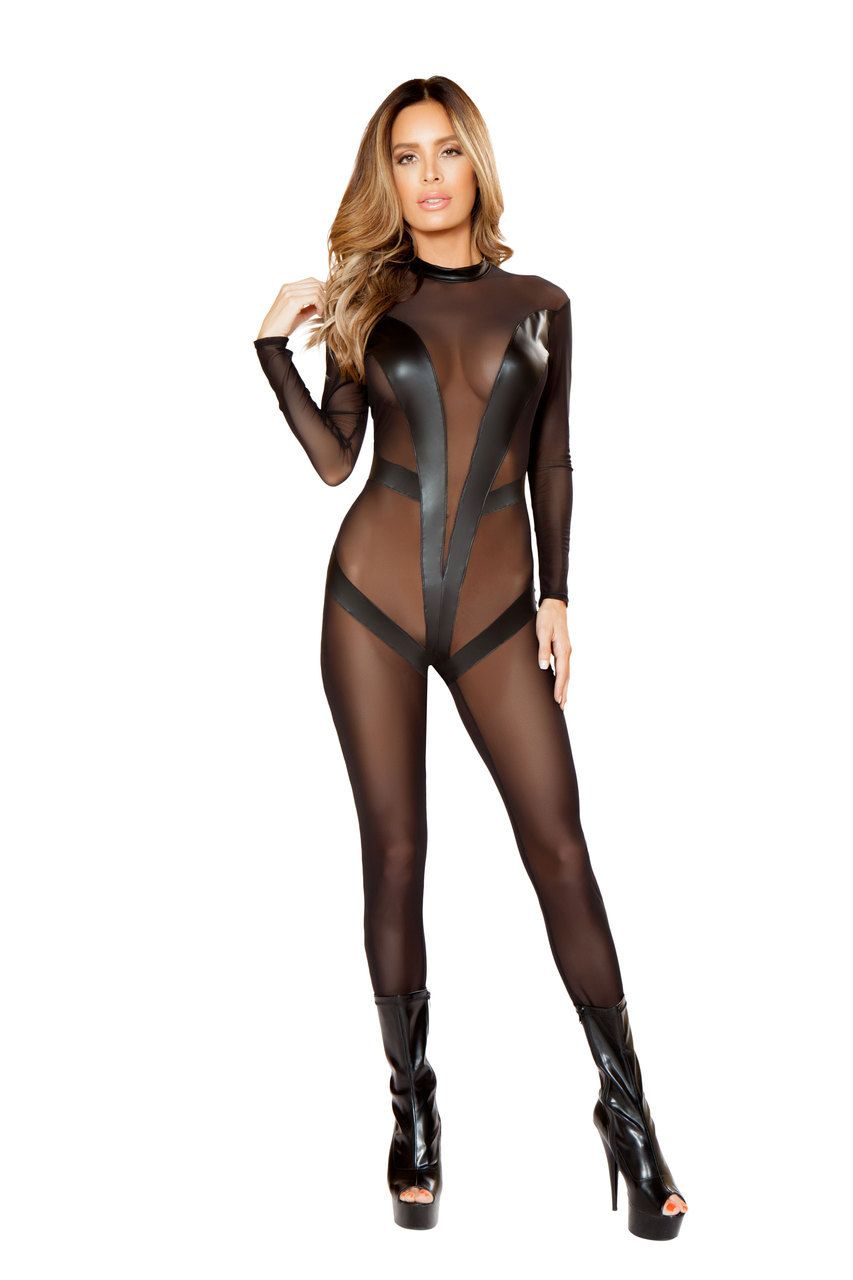 Women's Clothing 2019 New Women Bodysuit Sexy Black Wet Look Faux Leather Teddy Zipper One Shoulder Jumpsuit Body Mujer Fashion Summer Hot Sale