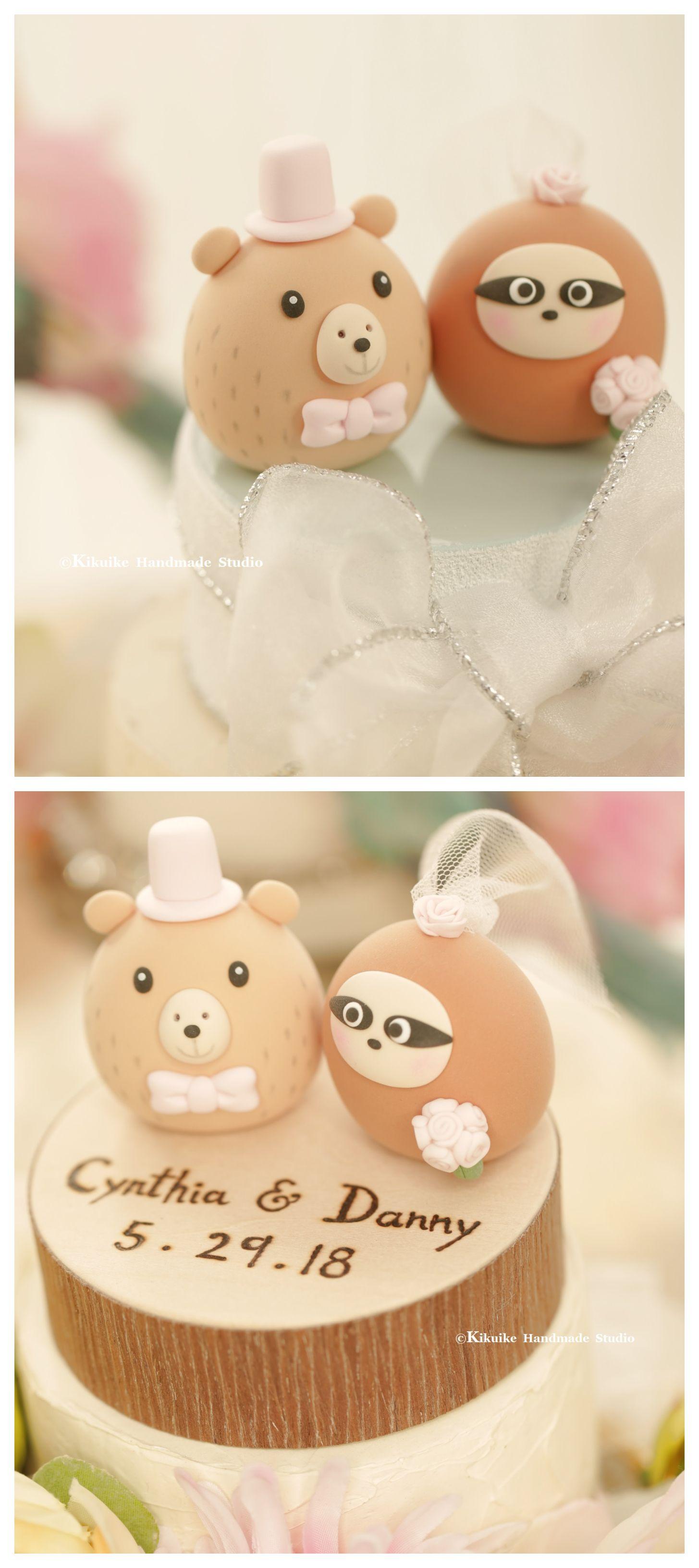 Handmade Capybara And Sloth Bride Groom Mochiegg Wedding Cake Topper Cute Animals Decoration Ideas Weddingplanning Weddingideas