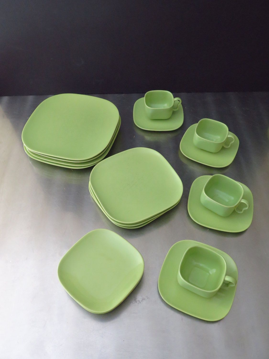 Midcentury Franciscan Tiempo Glossy Green Sprout Dish Ware Lime Green Dinnerware EXCELLENT by TheDomesticDarling on : lime green dinnerware - pezcame.com