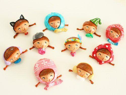 Lena粉紅冷帽子項鍊 - 毛冷小辮子(軟軟的),軟陶立體手工頸鍊