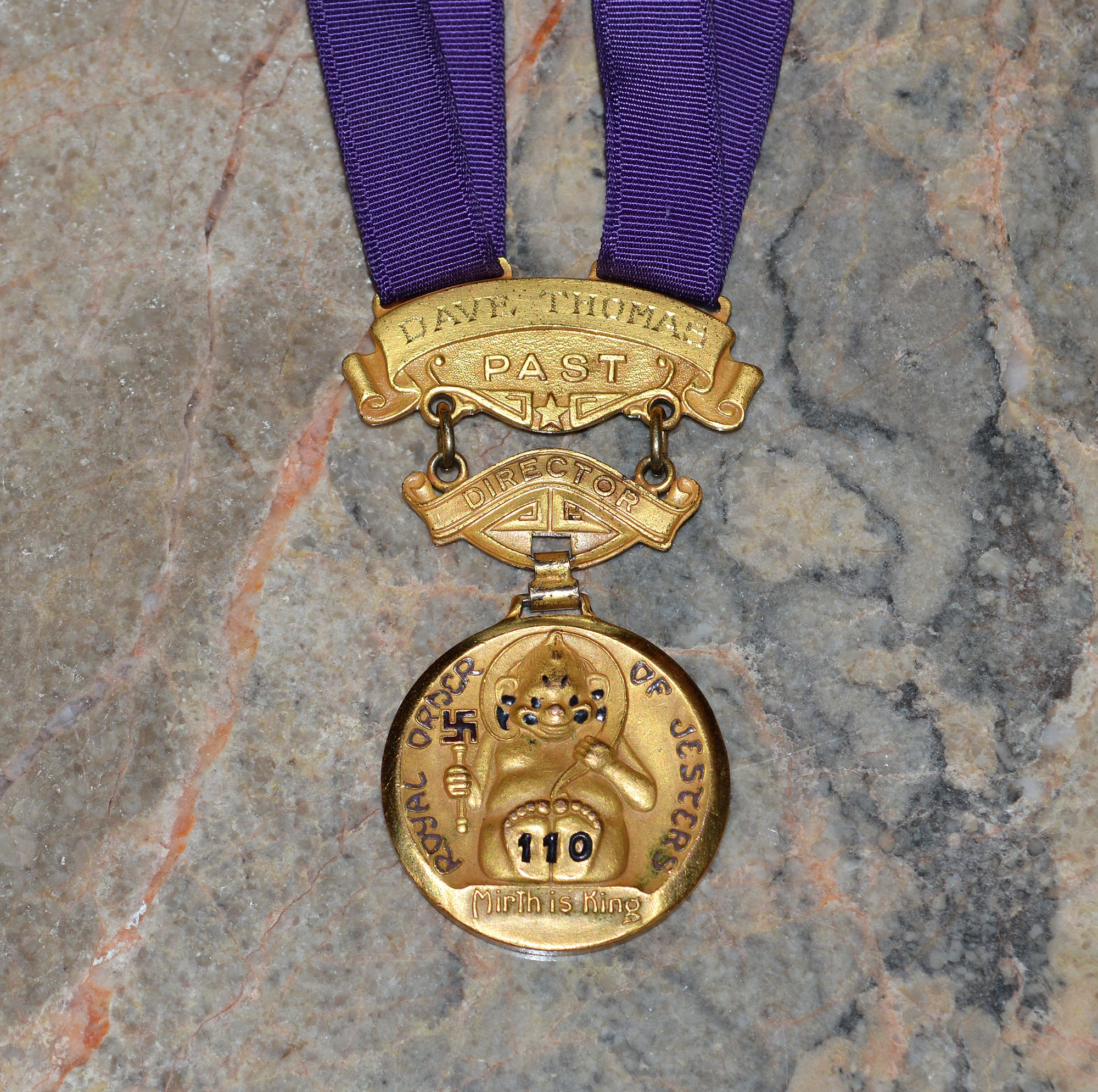 This Masonic jewel from The Royal Order of Jesters belonged to the