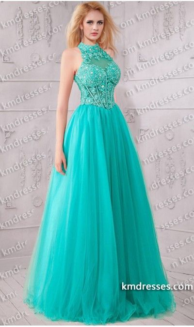 Lace halter top prom dress | Beautiful dresses | Pinterest | Tops ...