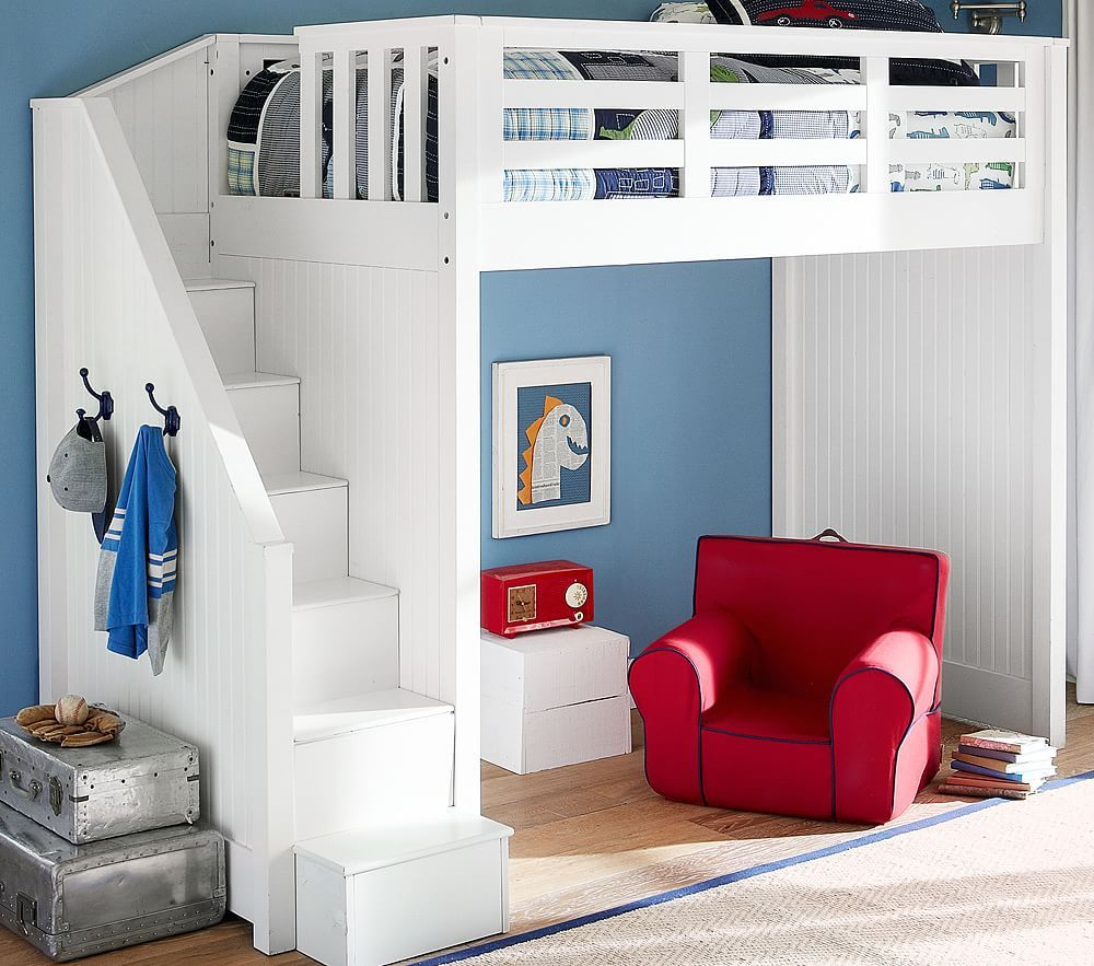 Pottery barn loft bed with desk  Catalina Stair Loft Bed  Room  Pinterest  Loft Bedroom and Room