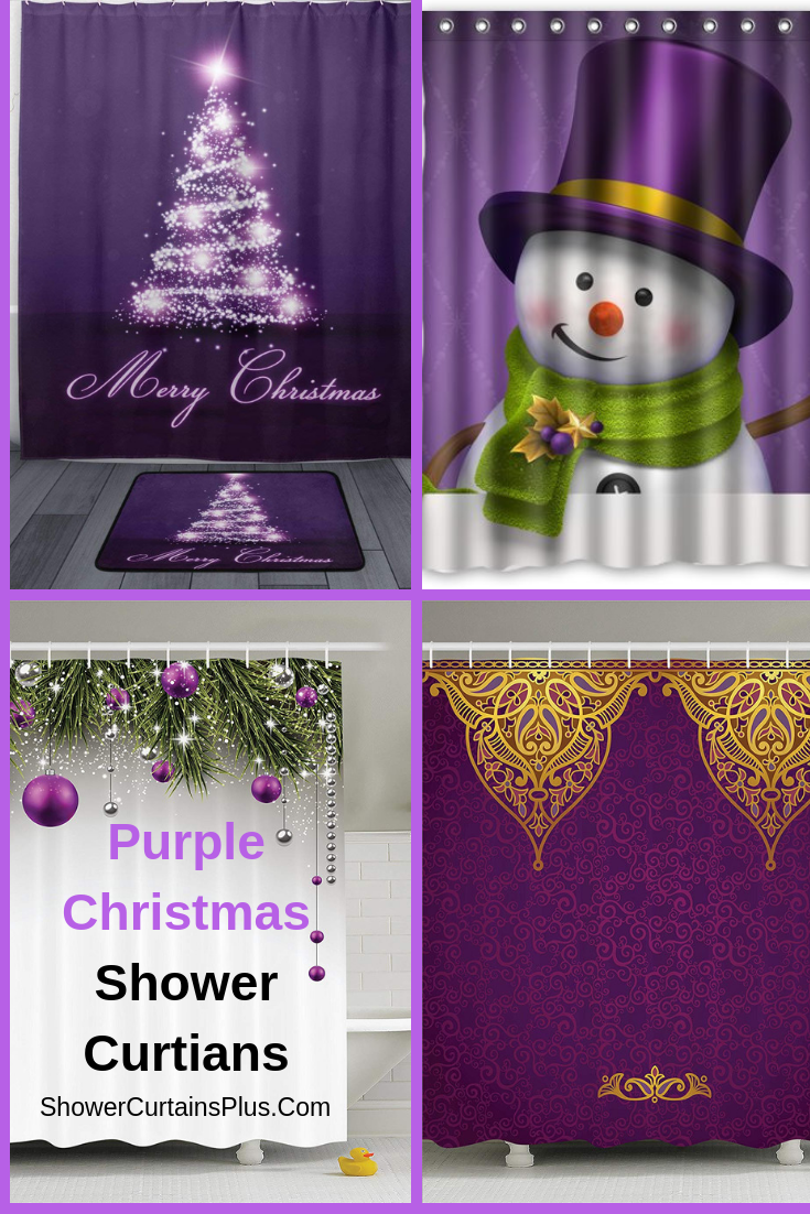 Purple Christmas Shower Curtains And Accessories With Images