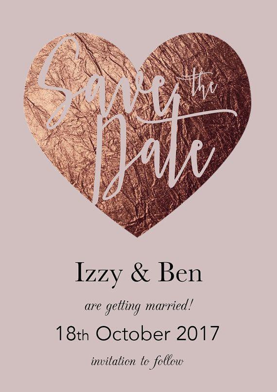 Save The Date Wedding Magnet Rose Gold Blush By Weddingraphicsuk Diy
