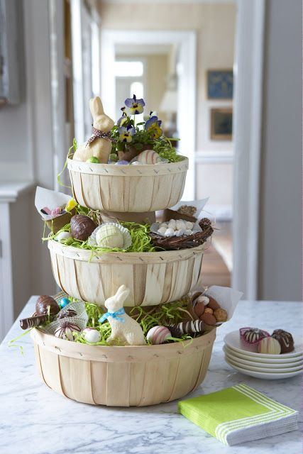 Stacked easter basket centerpiece easter pinterest easter three tiered easter basket centerpiece handy basket idea that can change with the seasons negle Images