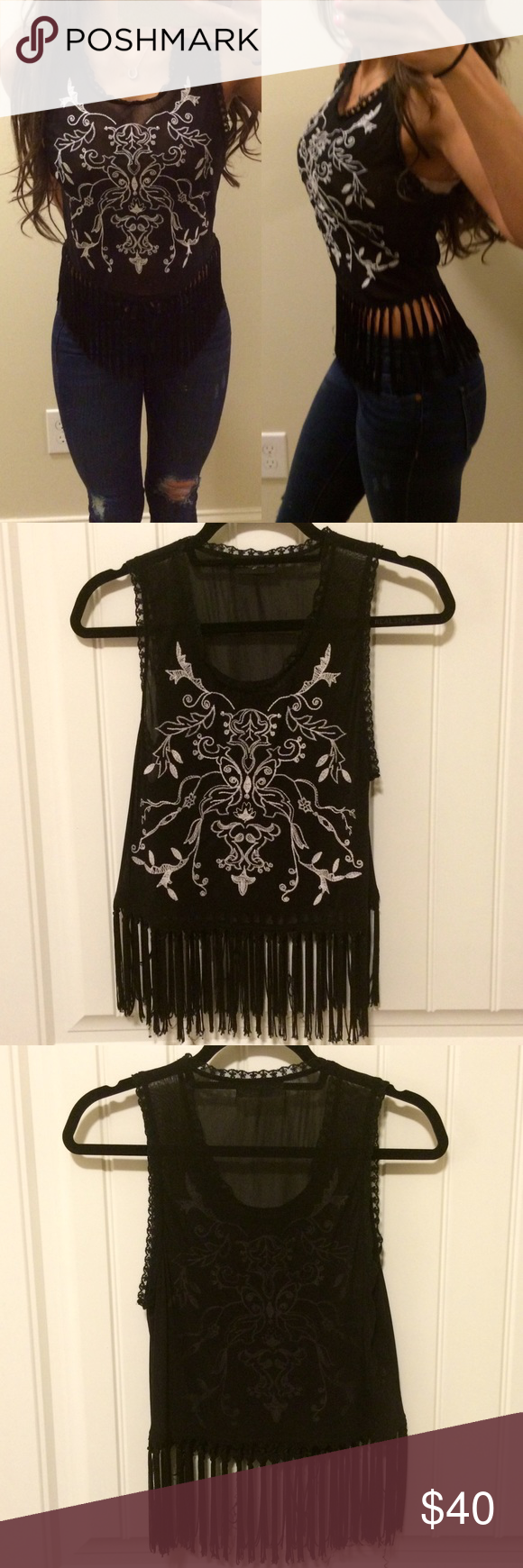 Black and White Embroidered Fringe Top Black and white embroidered fringe top. Material is semi sheer. Perfect to wear to a country concert in the summer with denim shorts and cowboy boots. Also would look great over a bikini. So many options. Never worn. New without tags. Purchased from a boutique in Texas. Perfect condition. Tops Tank Tops